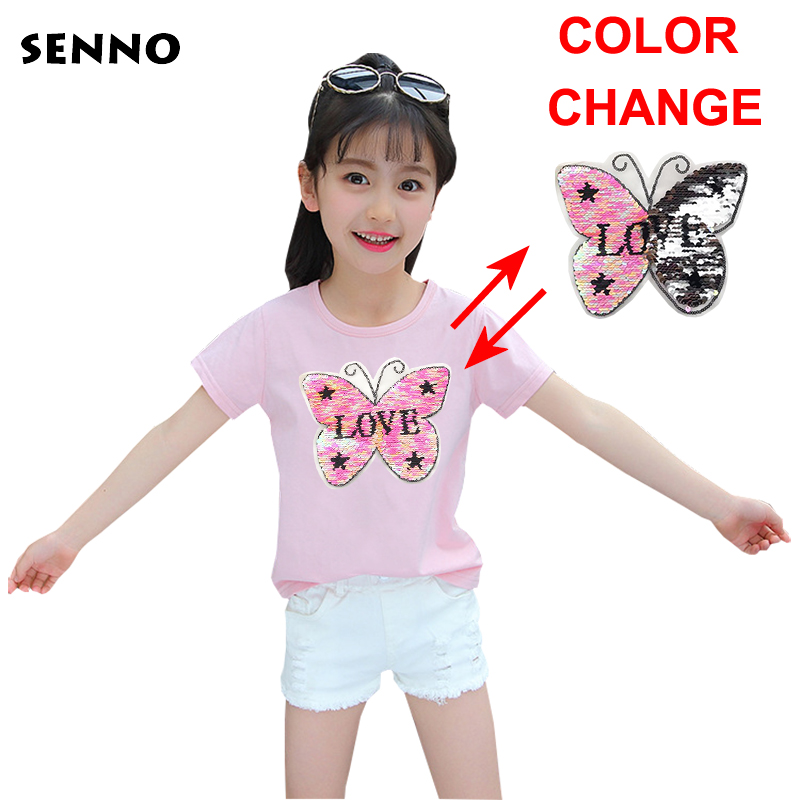 Kids color changing top sequin reversible switchable sequin girls tee shirt boys glitter T shirt kid magic discoloration tops jd коллекция светло телесный 12 пар носков 15d две кости размер
