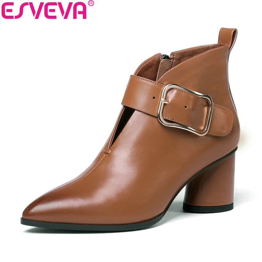 ESVEVA 2019 shoes woman Cow Leather Boots Zipper Ankle Boots Square High Heels Shoes Pointed Toe Ladies Boots Shoes Size 34-42 vallkin 2018 women boots high heels elastic band cow leather pu pointed toe square heels ankle boots ladies shoes size 34 39