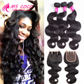 Peruvian Virgin Hair With Closure 100% Unprocessed Human Hair With Lace Closure 8A Peruvian Virgin Hair Body Wave With Closure