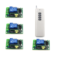 AC85V 250V 1ch Rf Wireless Remote Control Switch System 4 Receivers 1 Transmitter Learning Code Gateway