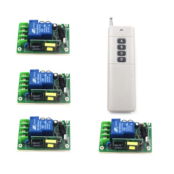 AC85V-250V 1ch rf Wireless Remote Control Switch System 4 Receivers &1 Transmitter Learning Code Gateway Access System SKU: 5281 ac 85v 250v 1ch rf wireless remote control switch system 1 transmitters