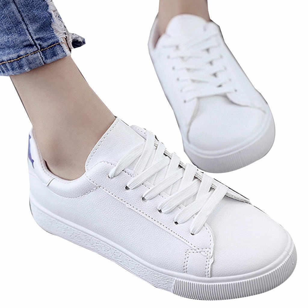 CHAMSGEND bahar ve yaz yeni bayanlar beyaz ayakkabı rahat sığ ağız düz vahşi yavru küçük balık öğrenci spor salonu ayakkabısı