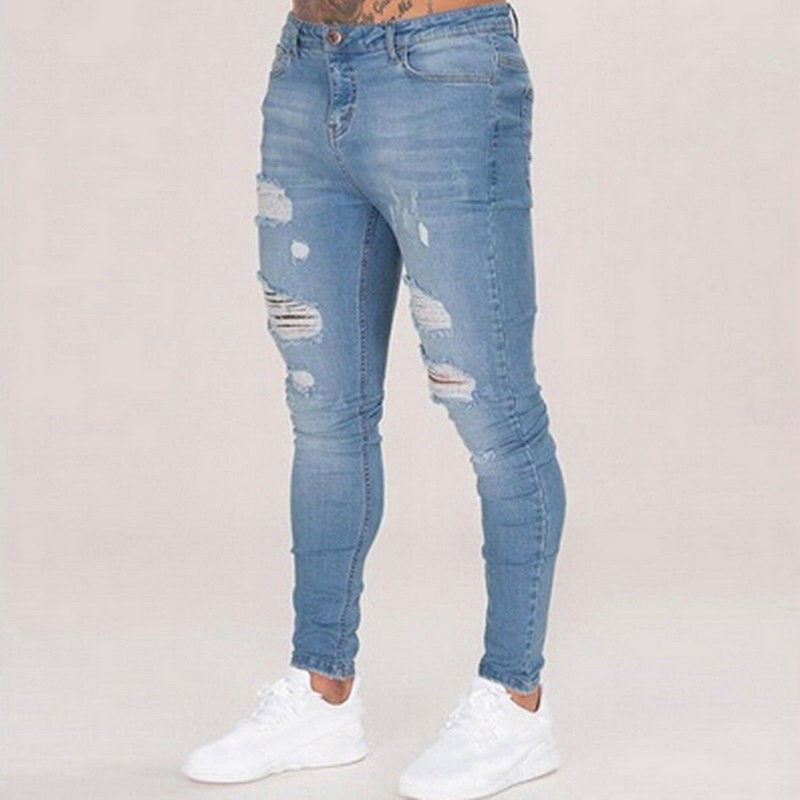 Jeans Pants Biker Slim-Fit Ripped Skinny Hip-Hop Black Blue Casual Mens Denim Hole