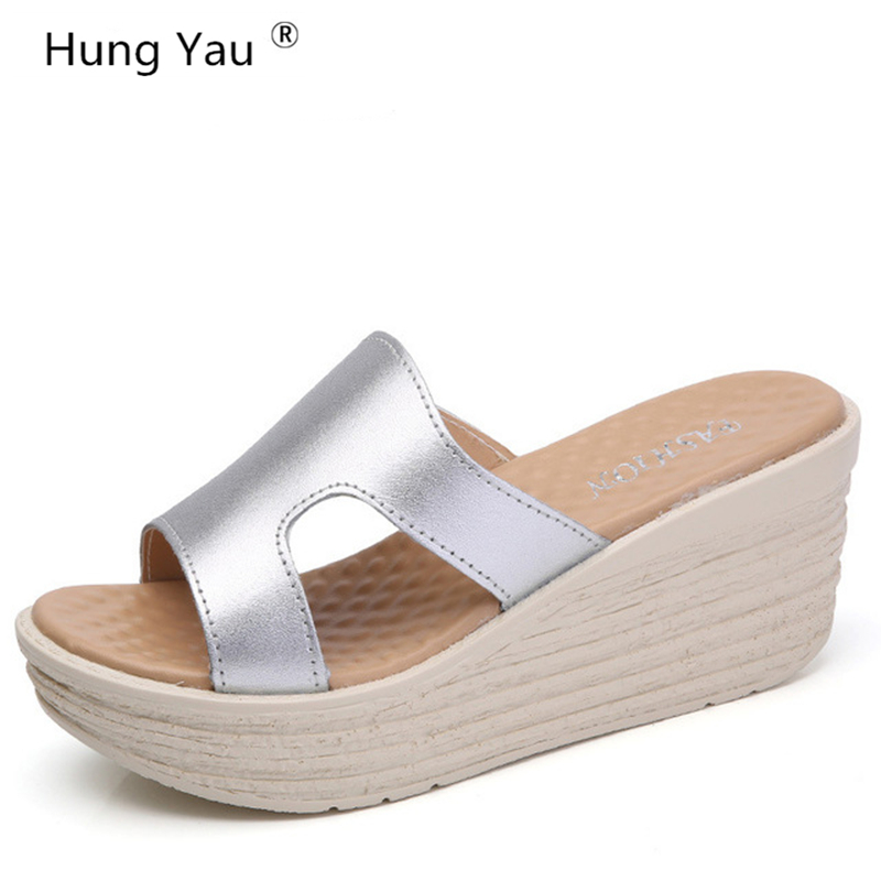 Hung Yau Comfortable Women Sandals Fashion Genuine Leather Shoes Women Slip On Shoes Summer Women Peep Toe Beach Sandals Size 9 2018 women sandals fashion peep toe casual slip on sandals women beach summer shoes women wedges platform cover heel sandals