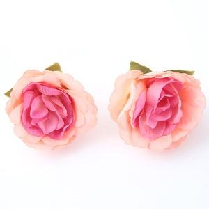 Image 3 - 10 ชิ้น/ล็อตประดิษฐ์ดอกไม้ 4 ซม. ผ้าไหมกุหลาบสำหรับงานแต่งงานตกแต่งบ้าน DIY ดอกไม้ scrapbook craft ปลอมดอกไม้