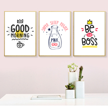 Simple Good Morning Milk English Is The Boss Phrase Canvas Art Painting Abstract Print Poster Picture Wall Home Decoration