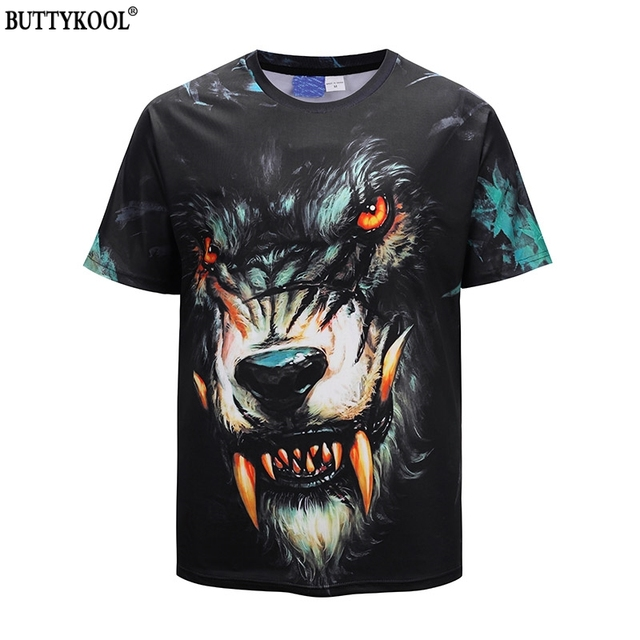 BUTTYKOOL Fashion Men's T-Shirts Loose Men Beach T Shirt 3D Devil wolf Print Mans t-shirts European(US) Size