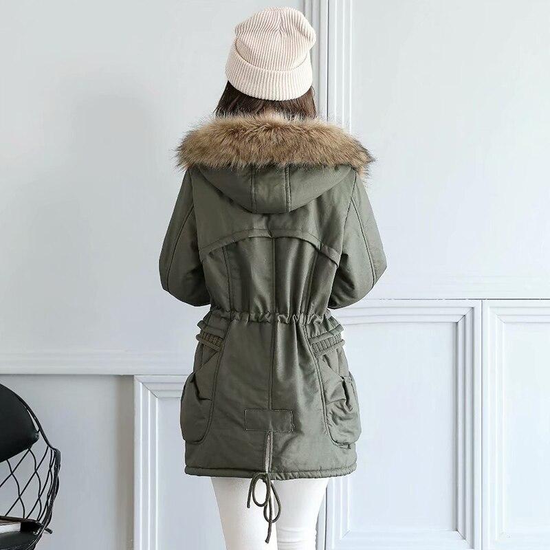 Épais Vert Green En Femmes Capuchon D'agneau D'hiver Long À Manteaux 6SF801W