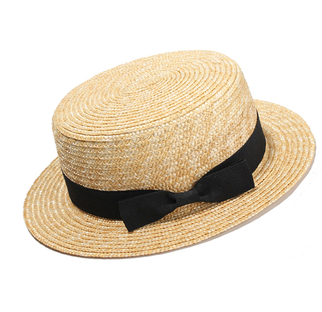 6f76f99834e Women Summer Beach Sun hats 2017 Brand New Flat Top Straw Hat Men Boater  Hats Bone