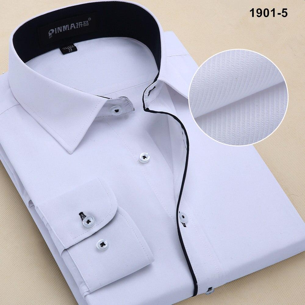 Новое поступление, весенняя и осенняя мужская брендовая одежда, одноцветная мужская приталенная рубашка с длинным рукавом, мужские рубашки, деловые рубашки - Цвет: 19015