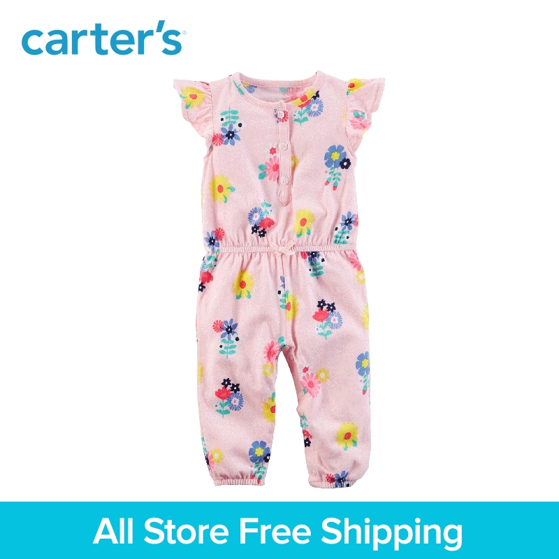 цена на Carter's baby children kids clothing girl spring&summer Floral Jumpsuit a front button placket and sweet floral print 118H954