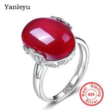 Yanleyu luksusowe naturalne czerwony klejnot kamień obrączki dla kobiet biżuteria dla nowożeńców 925 Sterling Silver Rubis pierścionek zaręczynowy PR079 tanie tanio Moda Pierścionki TRENDY Półszlachetnych kamieni Zaręczyny YINHED Owalne Zespoły weselne 2 5mm Kobiety Prong ustawianie