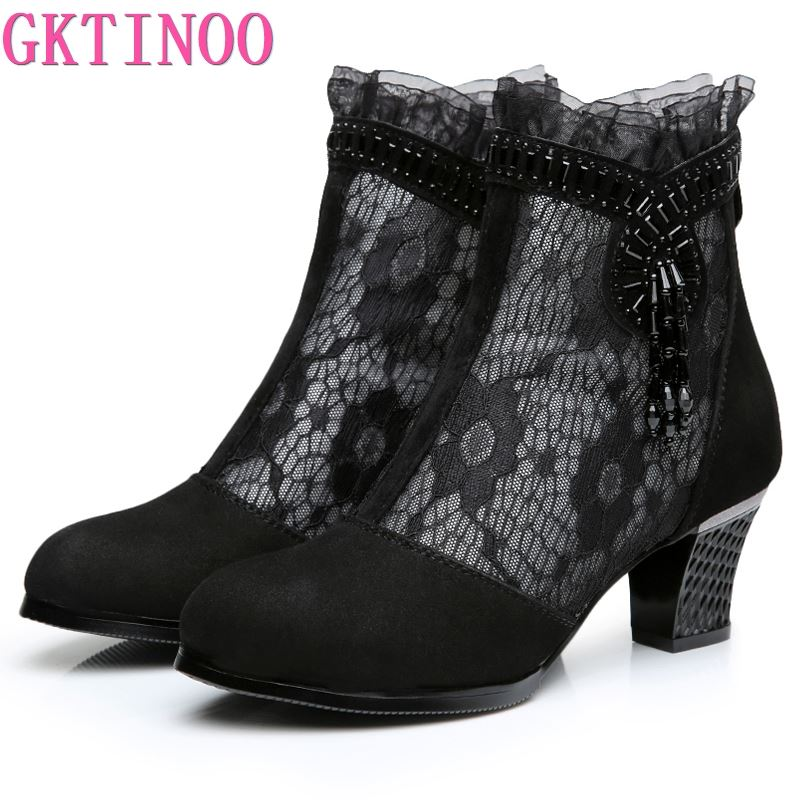 GKTINOO 2019 Spring Summer New Genuine Leather Women Boots Hollow Mesh Ankle Boots Comfortable Fashion Shoes