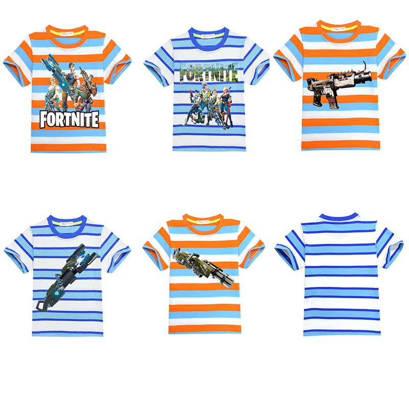 5 Styles Kids Casual Short Sleeve Game Fortnite T Shirt Letter Printed Boys Girls Striped T-shirt Children Clothes 4-14T Top Tee