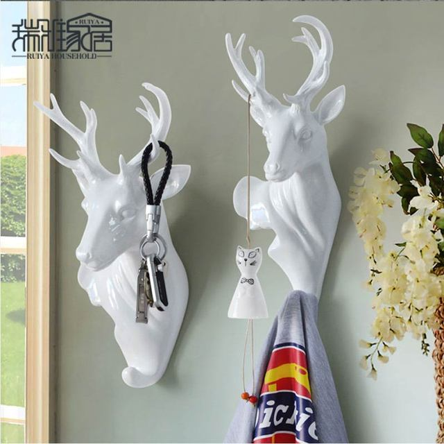 Deer Head Wall Hooks American Style Animal Decor Home Clothes Hanger For