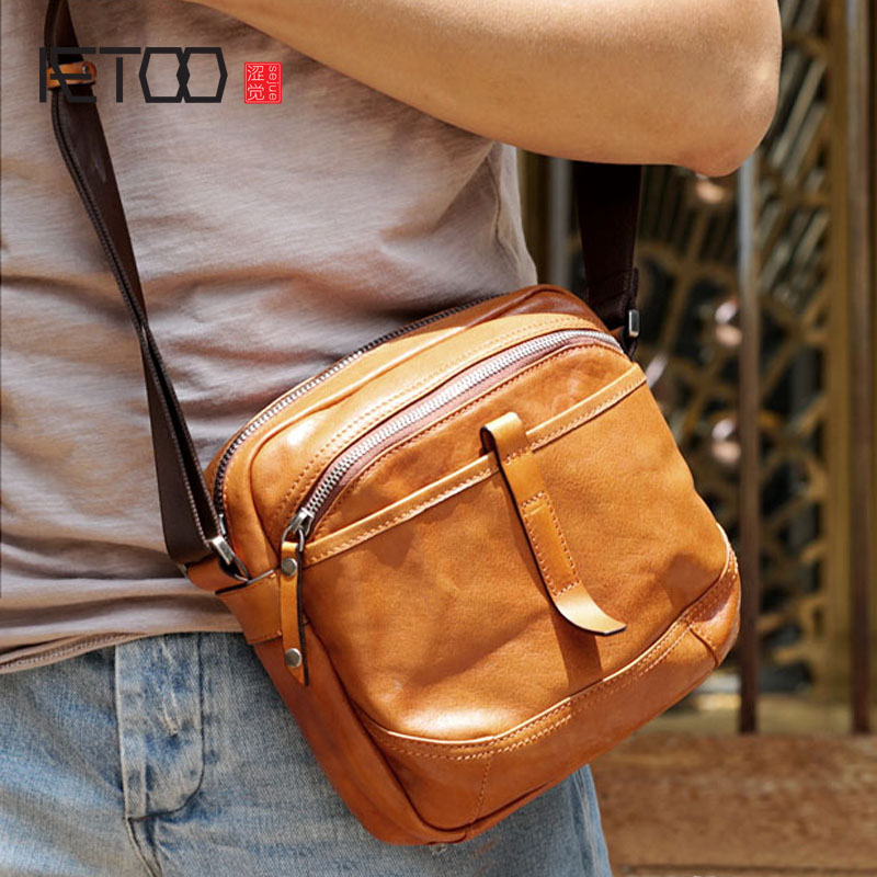 AETOO Handmade cowhide leather shoulder bag Messenger bag casual mens ladies multifunctional small three-dimensionalAETOO Handmade cowhide leather shoulder bag Messenger bag casual mens ladies multifunctional small three-dimensional