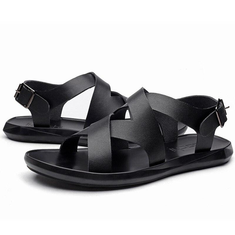 Sandales Chaussures De Sangle Avant Boucle Plage Respirant Casual Mode D'été Pour Arrière Loisirs Base Bas Noir Solide Hommes B04nPwatq
