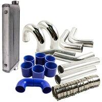 Aluminum front mount Intercooler 600x300x70 + 76 mm turbo pipe + blue hose kit Silicone HOSE