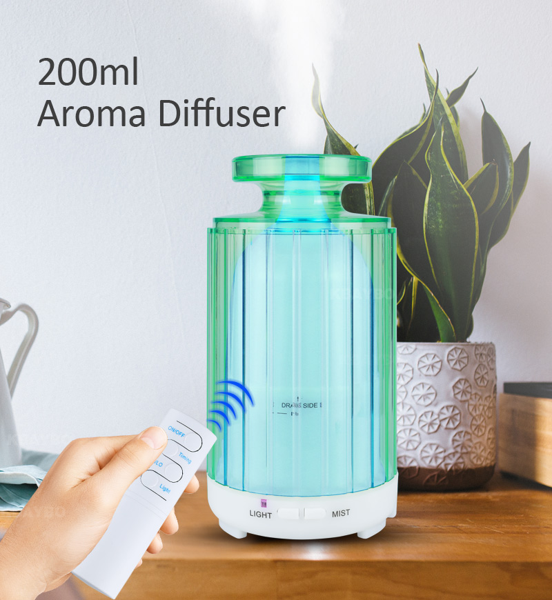200Ml Air Humidifier With Remote Control Electric Aroma Diffuser Ultrasonic Air Humidifier 7 Soothing LED Lights For Home