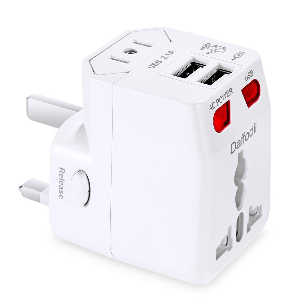 Daffodil WAP160 Universal World Travel Adapter with 2 USB Ports Over 150 Countries USB Power Adapter with UK/US/AU/EU Plugs