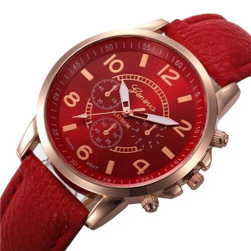 2018 Round shape Fashion outdoor sports analog watches leather band hot sale classic quartz clock unisex time gift