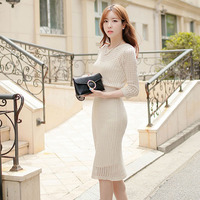 Pottis 2018 spring new dress knit hollow package hip bottoming sweater long section to send suspenders dress