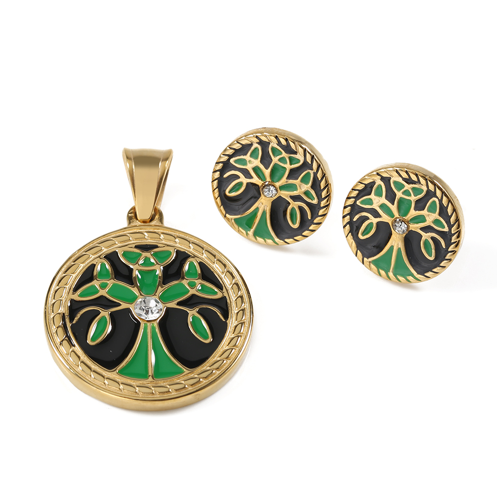 TL Tree of Life Pendant and Earrings Set for Women AAA Zircon Treasure Green Necklace Earrings Sets Costume Party Jewelry Sets a suit of stylish rhinestone maple leaf necklace and earrings for women