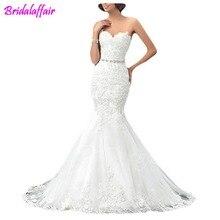 Vestido de noivas 2018 Mermaid Wedding Dresse svestifos noviaLace Gowns with Beaded Belt china wedding dresses