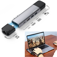 Dual Type C Hub Adapter USB 3.0 4K HDMI Thunderbolt 3 for Apple MacBook Pro SD/TF Card Slot Charger PD Adapter with Storage Case