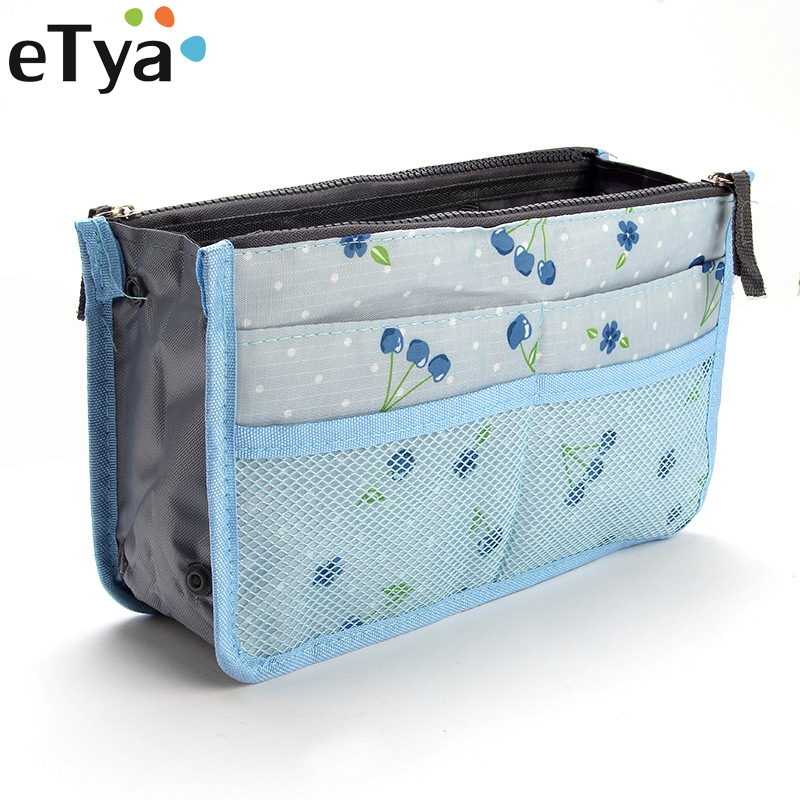 eTya Travel Cosmetic Bag Fashion Flower Printing Make Up Bag Toiletry Wash Kit Bags Makeup Organizer Storage Cases Beauty Bag