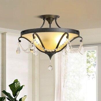 IWHD Kristal tavan ışık fikstürleri Retro LED Lamba Oturma Odası Lamparas de Techo Demir Plafon Yatak Odası Plafonglamp Ev Aydınlatma