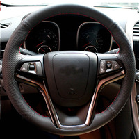 Free Shipping High Quality Cowhide Top Layer Leather Handmade Sewing Steering Wheel Covers Protect For Chevrolet