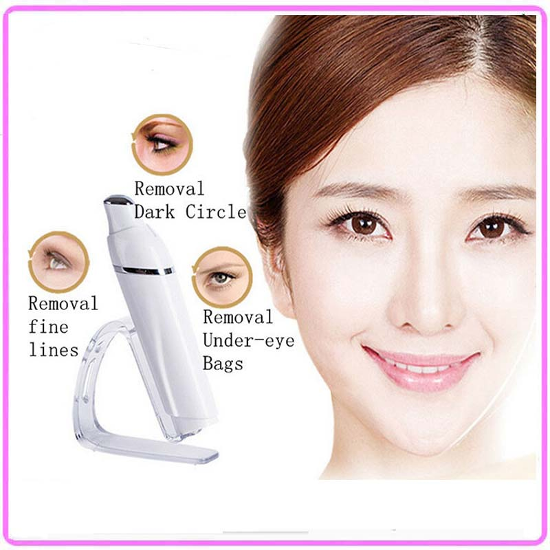 ФОТО Mini USB Recharging Anti Aging Eye Wrinkle Pouch Fineline Removal Galvanic Ion Beauty Massager Roller With Led Light Therapy