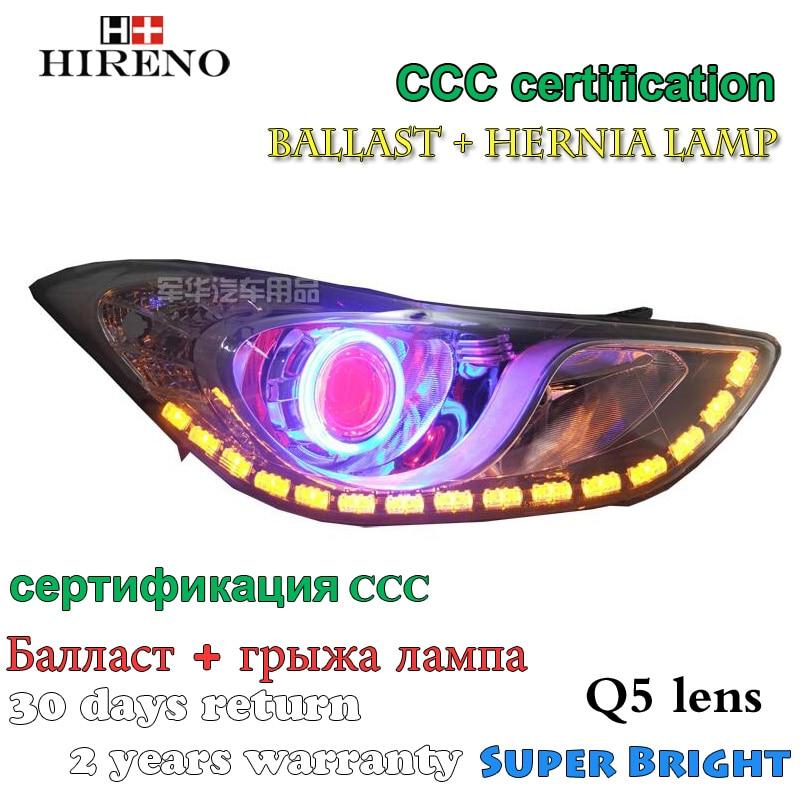 все цены на Hireno Modified Headlamp for Hyundai ELANTRA Avante 2012-2015 Headlight Assembly Car styling Angel Lens Beam HID Xenon 2 pcs онлайн