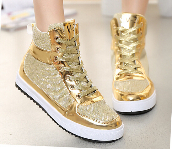 2016 Autumn Mesh Breathable Women Casual Shoes Gold Silver Outdoor Flat Shoe Woman Canvas shoes Plus Size 35-40 free shipping