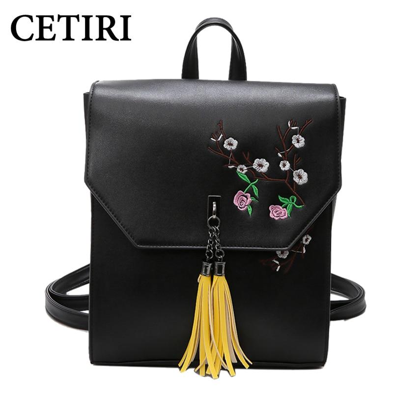 CETIRI Women Backpacks Fashion Pu Leather Shoulder Bag 2017 Tassel Backpacks Flowers Floral School Rucksack Women