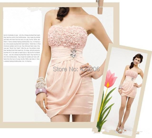 Pretty Lovely Short Mini Sweetheart Fold Rhinestone Roses Manual Nail Bead Rose Strapless Cocktail Dresses Party Dresses