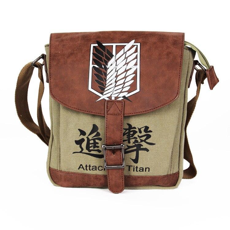 Anime Attack on Titan Shingeki no Kyojin cartoo Printed canvas cover fashion man woman crossbody bag Leisure Handbags schoolbag