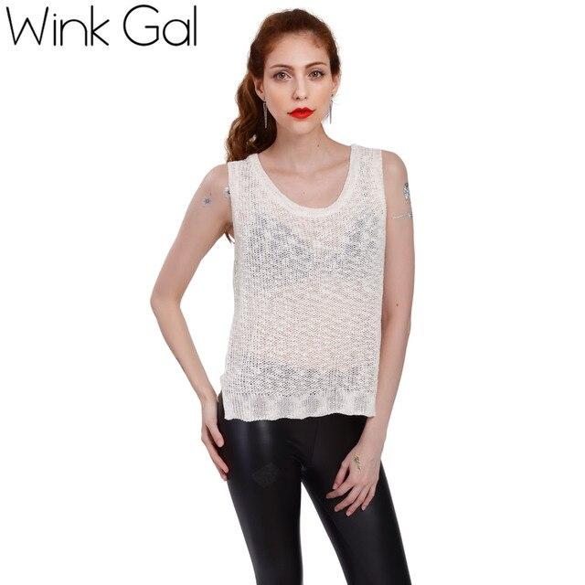 Wink Гал Sexy Топ Женщины Вязание Жилет Выдалбливают Рукавов V-образным Вырезом Блузка Повседневная Топы 10060