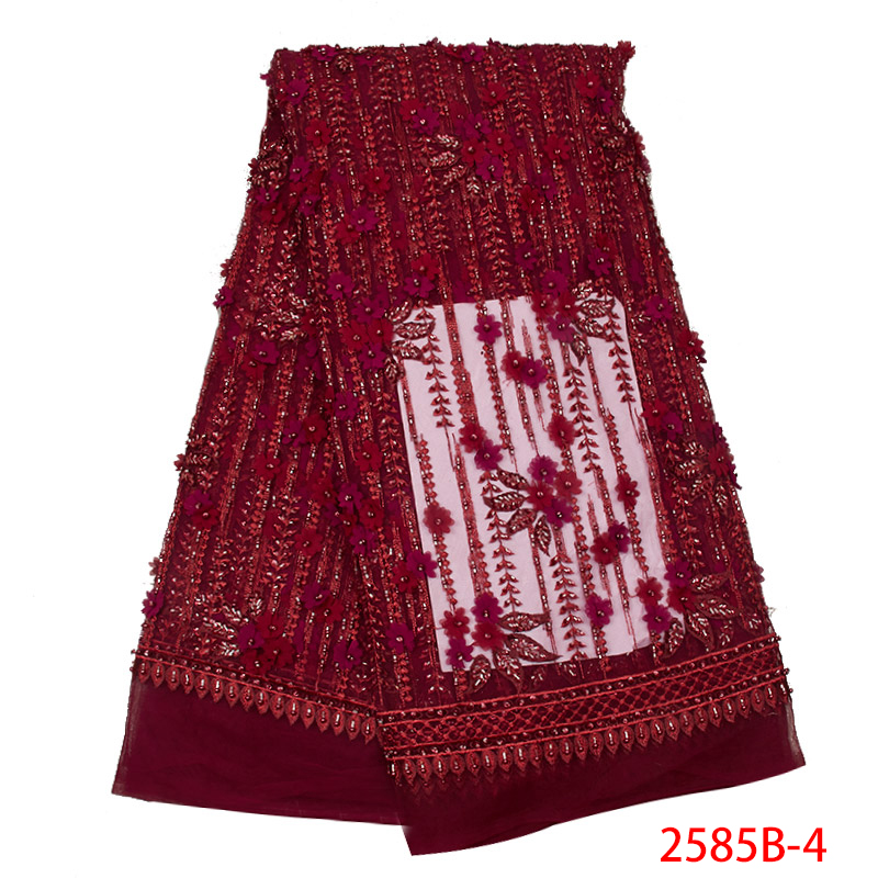 3D Applique Lace High Quality African Lace Fabric Latest French Tulle Net With Beads Nigerian Embroidered For Wedding KS2585B-4