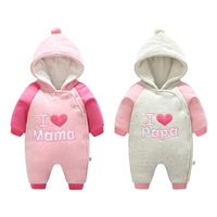 NEW Winter Baby Boy Rompers Long Sleeved Infant Jumpsuit Hooded Baby Girl Clothes Newborn Coral Fleece