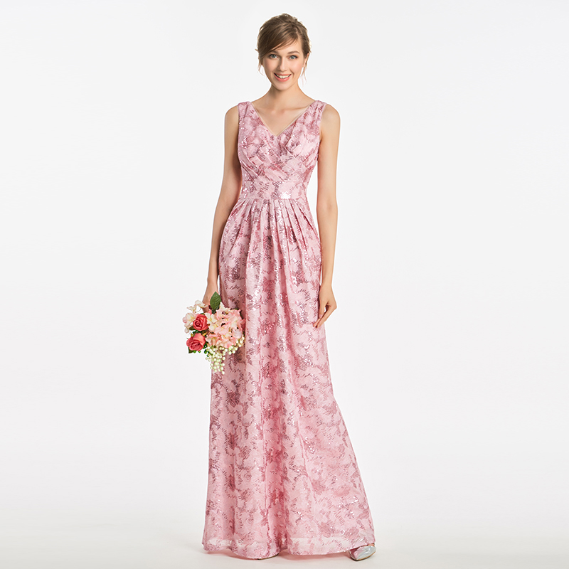 Tanpell sequins   bridesmaid     dress   pink pleats sleeveless floor length a line gown women wedding v neck long   bridesmaid     dresses