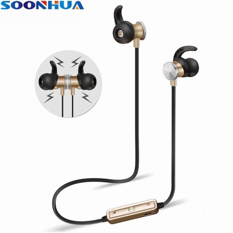 SOONHUA Wireless Magnetic Headphones Bluetooth 4.1 Sports Comfort Sweatproof Stereo Earphone Super Bass Handsfree Headset