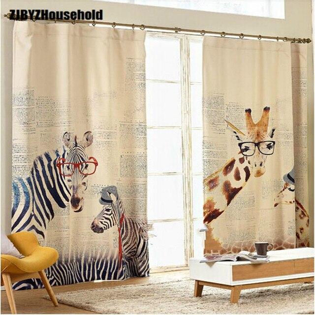 Cortinas personalizadas pastorales para pequeñas jirafas frescas, estudio, comedor, dormitorio, sala de estar, cortinas de ventanas