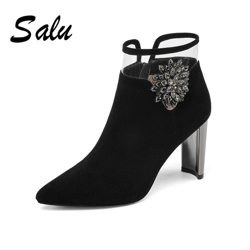 salu spring autumn chunky heels high heels 8cm Stretch boots rhinestone grey boots big size womens shoes ladysalu spring autumn chunky heels high heels 8cm Stretch boots rhinestone grey boots big size womens shoes lady