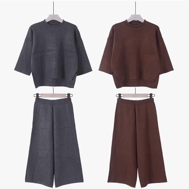 Women's Suit Autumn Winter Knitted Crop Top Capris Wide Legs Fashion Vintage Slim Fit Knitwear 2pac Set Elegant European Style