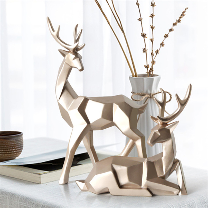 Geometric A Couple of Deer Statues Bedroom Decor Accessories Elk Sculptures Crafts Garden Home Living Room