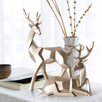 Geometric A Couple of Deer Statues Bedroom Decor Accessories Elk Sculptures Crafts Garden Home Living Room Sculptures Ornament