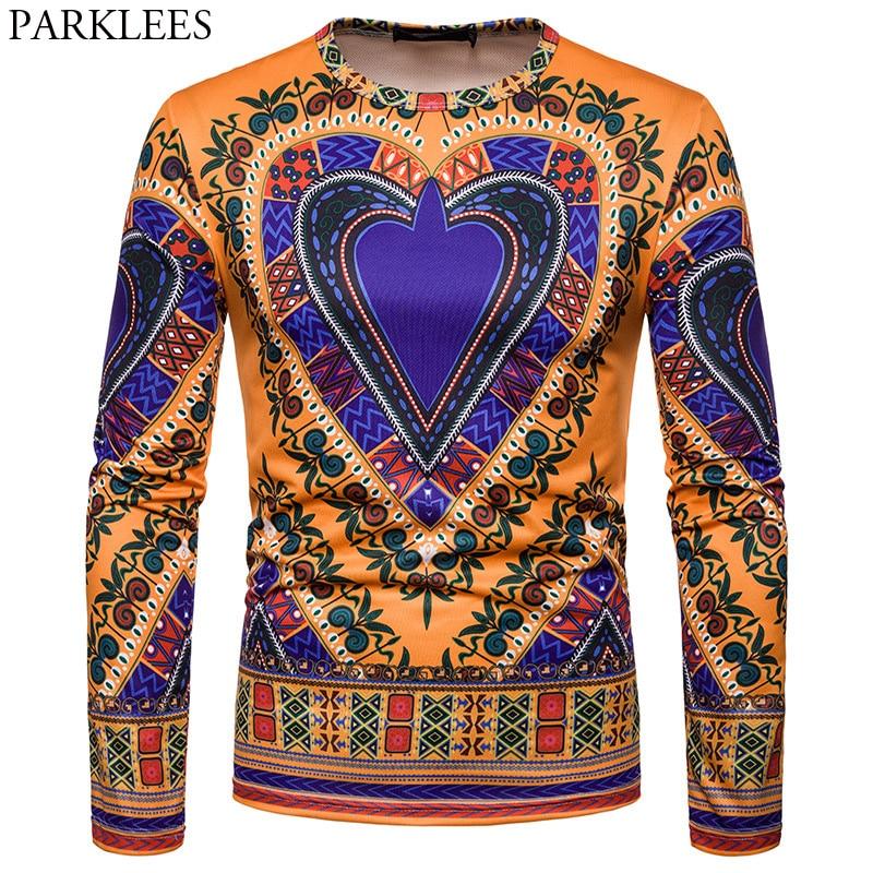 Fashion Mens Dashiki Printed African Long Sleeve Tops Tribal Hippie T-shirt Tops