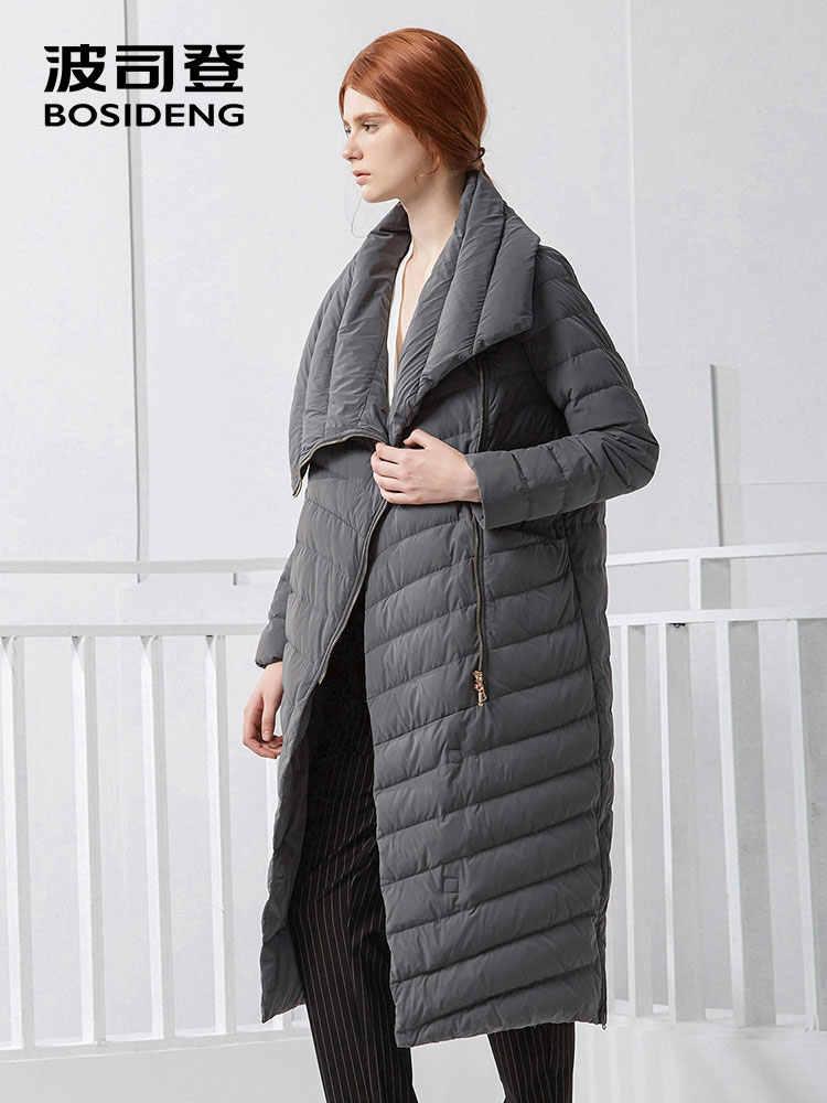 BOSIDENG белый гусиный новый длинный прямой х-длинный толстый пуховик с лацканами женский большой воротник модный бренд зима B70133026